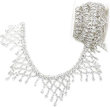 1 Yard Colorful Crystal Beaded Rhinestone Trim Lace Trim Bride Gown Dress Decor
