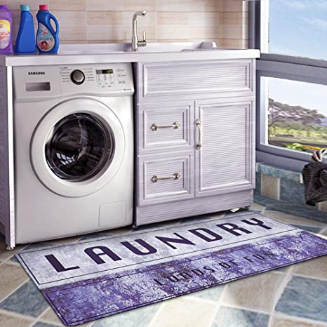 USTIDE Laundry Room Waterproof Floor Runners Non Skid Kitchen Floor Mat  Farmhouse Washhouse Mat Bathroom Rugs Non-Slip Rubber Area Rug