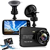 Dual Dash Cam Front and Rear Camera, 8 Led Lights Dashcam for Cars with Night Vision, 1080P 4 Inches Metal Body Car Camera, IPS Screen, 170 wide angle, Loop Recording, G-Sensor