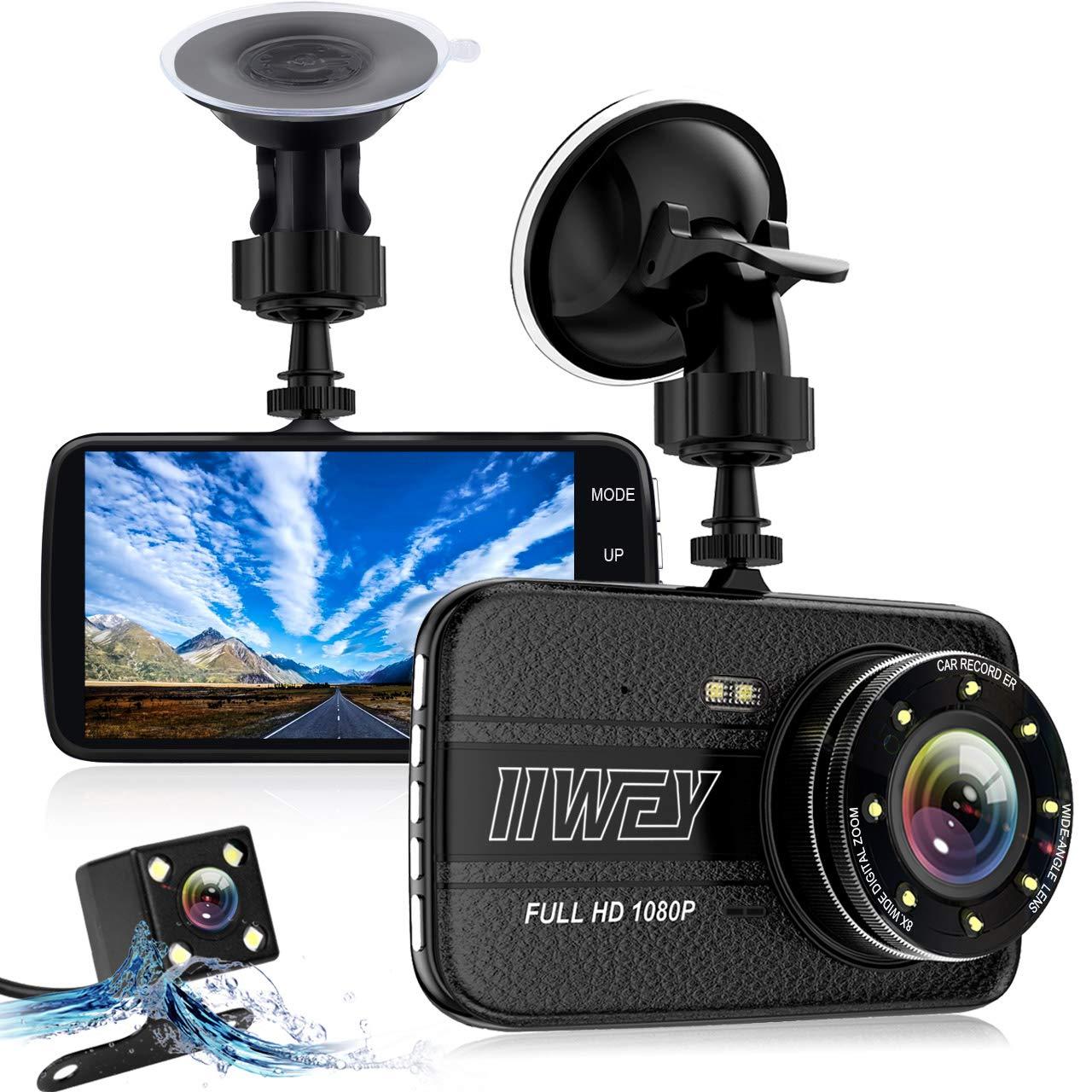 デュアルダッシュカムフロント&リアカメラ、ナイトビジョン対応車用8 Ledライトダッシュカメラ、1080 P 4インチアルミ合金軽量ボディカーカメラ、IPSスクリーン、170広角、ループ録画、Gセンサー   B07LD3DMDS