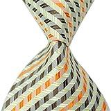 Allbebe Green Orange-brown Striped Jacquard Woven 100% Silk Men's Tie Necktie