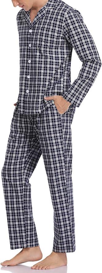 Aibrou Pijama Hombre Invierno de Algodón 2 Piezas Pijamas Manga Larga para Hombres Pantalones Largos Patrón de Cuadros
