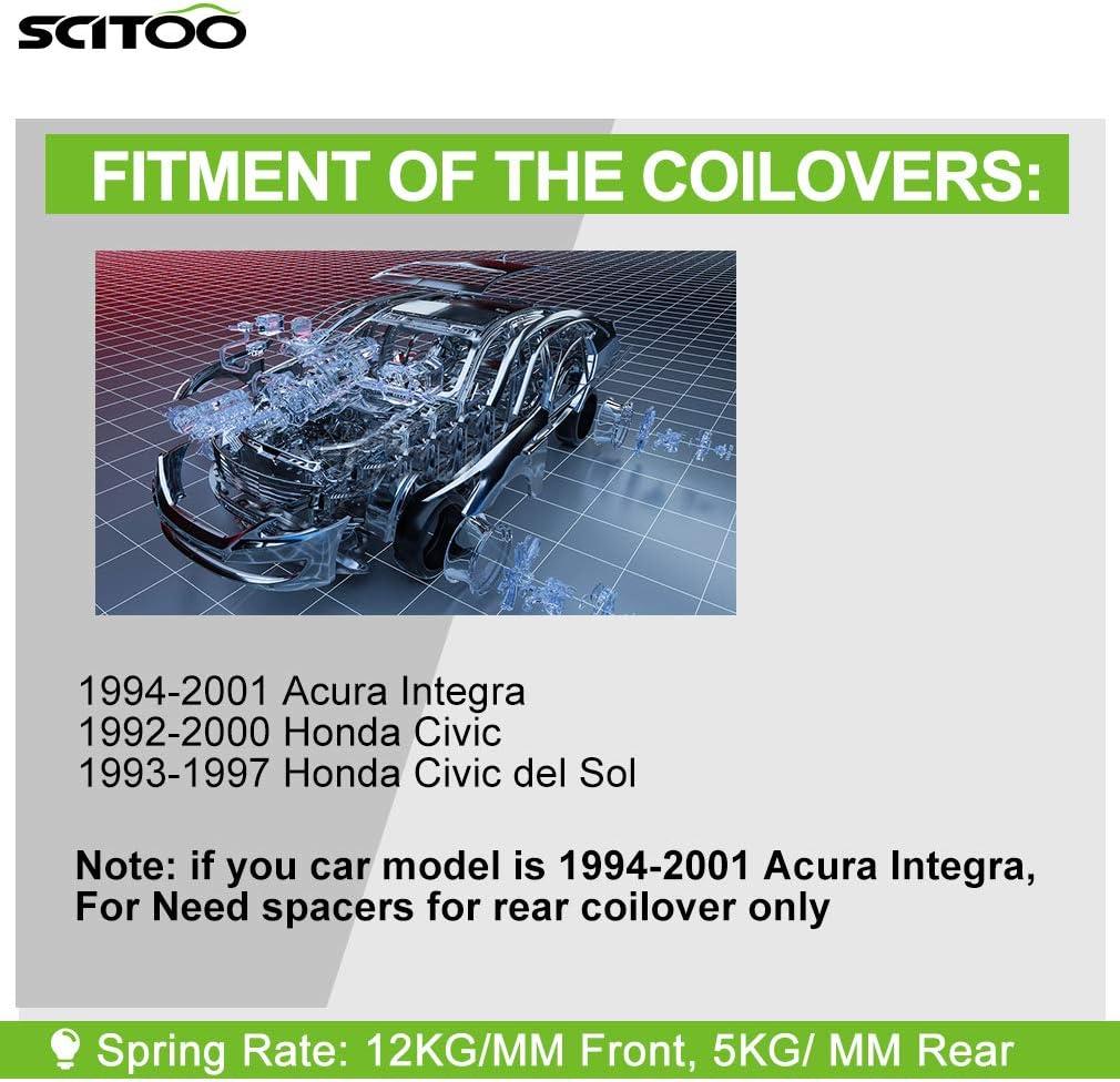 Coilover Suspensions Shock Struts Spring Assembly SCITOO Full Set Shocks Struts Kits for 1994-2001 Acura Integra 1992-2000 Honda Civic 1993-1997 Honda Civic del Sol