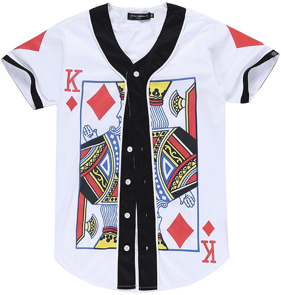 PIZOFF Short Sleeve Arc Bottom Baseball Team Jersey 3D All Over King of Heart Floral Print Basketball Shirt Y1724-52-S