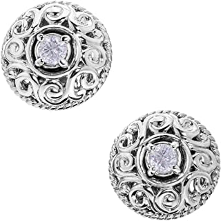 product image for Carolyn Pollack Sterling Silver Genuine Gemstone Birthstone Button Earrings