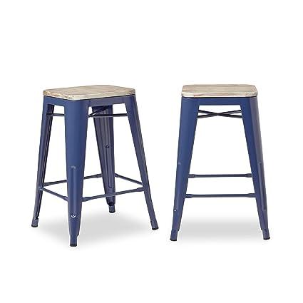 Astounding Amazon Com Rustic Modern Elm Wood Seat 24 Counter Stool Bralicious Painted Fabric Chair Ideas Braliciousco