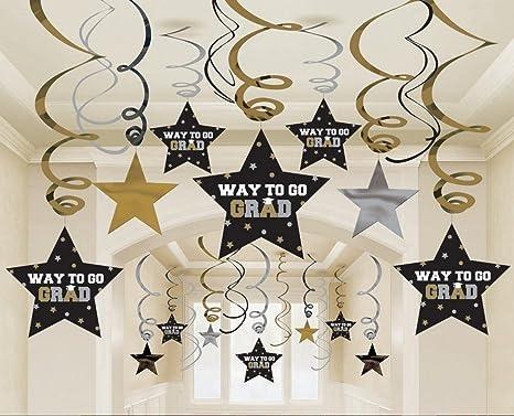 2019 Graduation Decorations 30 Ct Black Gold Silver Hanging Swirls Stars Party Decorations