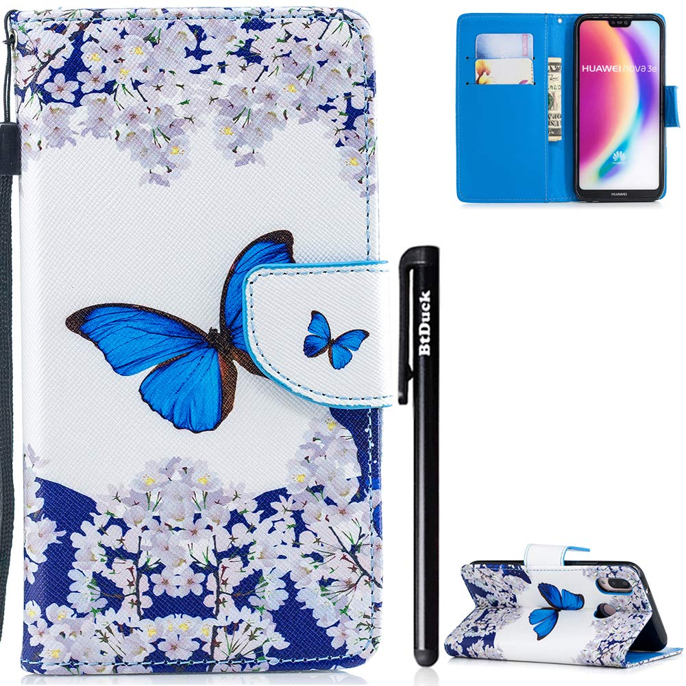 BtDuck HUAWEI P20 Lite Case, HUAWEI P20 Lite Phone Case Leather Wallet Phone Protection Stand Flip Cover Shockproof Leather Flip with Cards Slots Magnetic Phone Case Slim Fit with Wrist Strap Butterfly Case Silicone Inside Case Glitter for HUAWEI P20 Lite