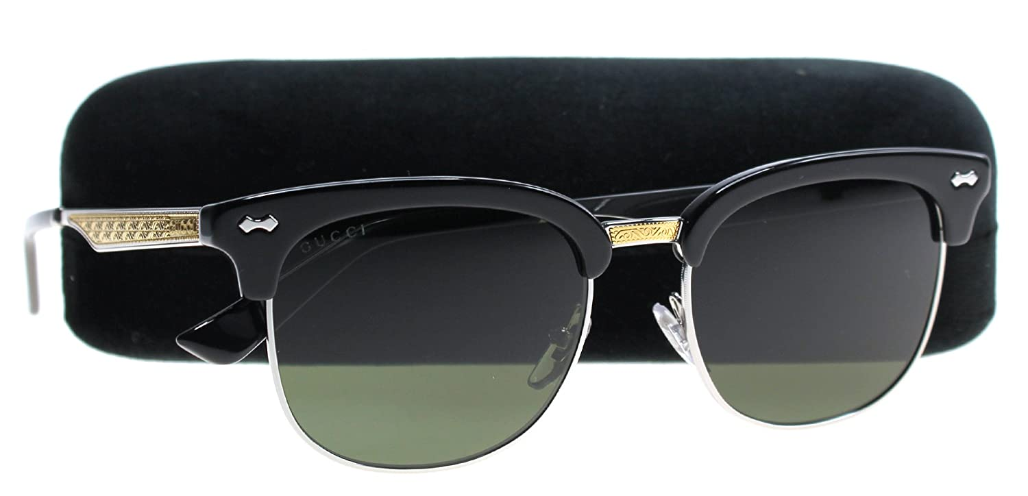 ba7683e64b Amazon.com  Gucci GG0051S Sunglasses 001 Black Silver Gold   Green Lens 52  mm  Clothing