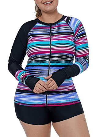 d31f7bcd00e66 XAKALAKA Women Plus Size Long Sleeve Zip Front Surf Swimsuit Rash Guard Swim  Top at Amazon Women s Clothing store