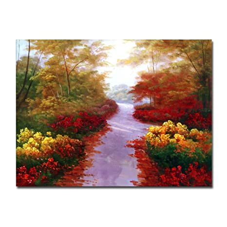 Lotuslife Tela Stampata Dipinti Fiori Paesaggio Autunnale Alberi E