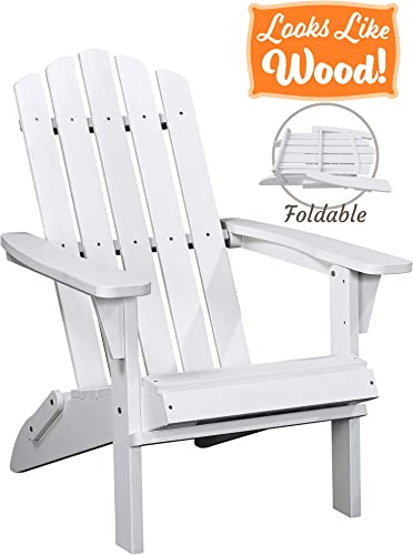 PolyTEAK Classic Folding Poly Adirondack Chair, Powder White Adult-Size, Weather Resistant, Made from Special Formulated Poly Lumber Plastic
