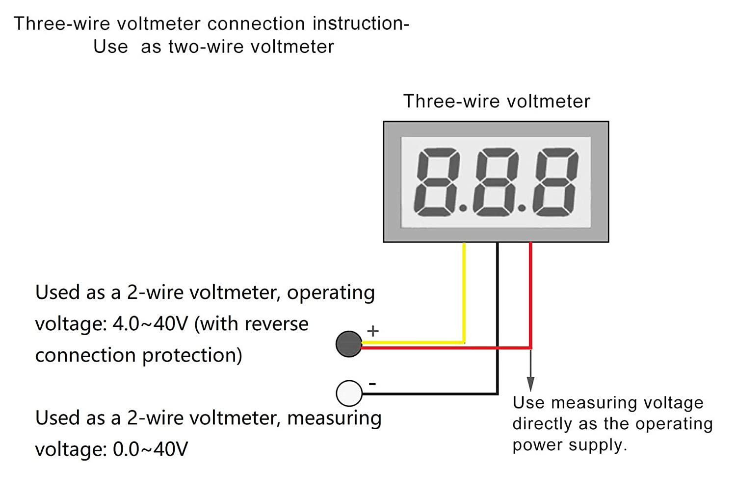 Led Wiring Diagram Of Voltmeter Library How To Test Car Fuse Box With Multimeter Noyito 028 Ultra Small Dc Digital 0 100v 3 Wire