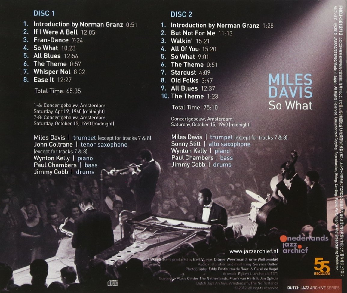 So What Complete Amsterdam Concert 1960 by Miles Davis