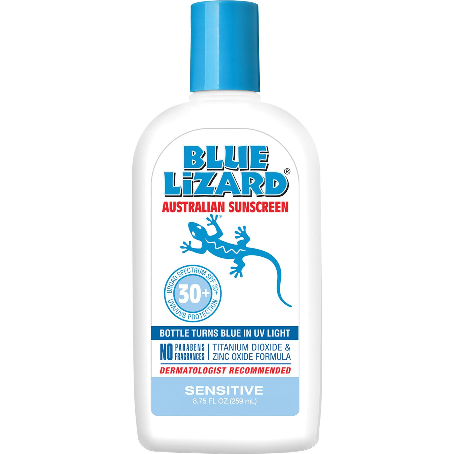 Blue Lizard Australian Sunscreen - Sensitive Sunscreen SPF 30+ Broad Spectrum UVA/UVB Protection - 8.75 oz Bottle