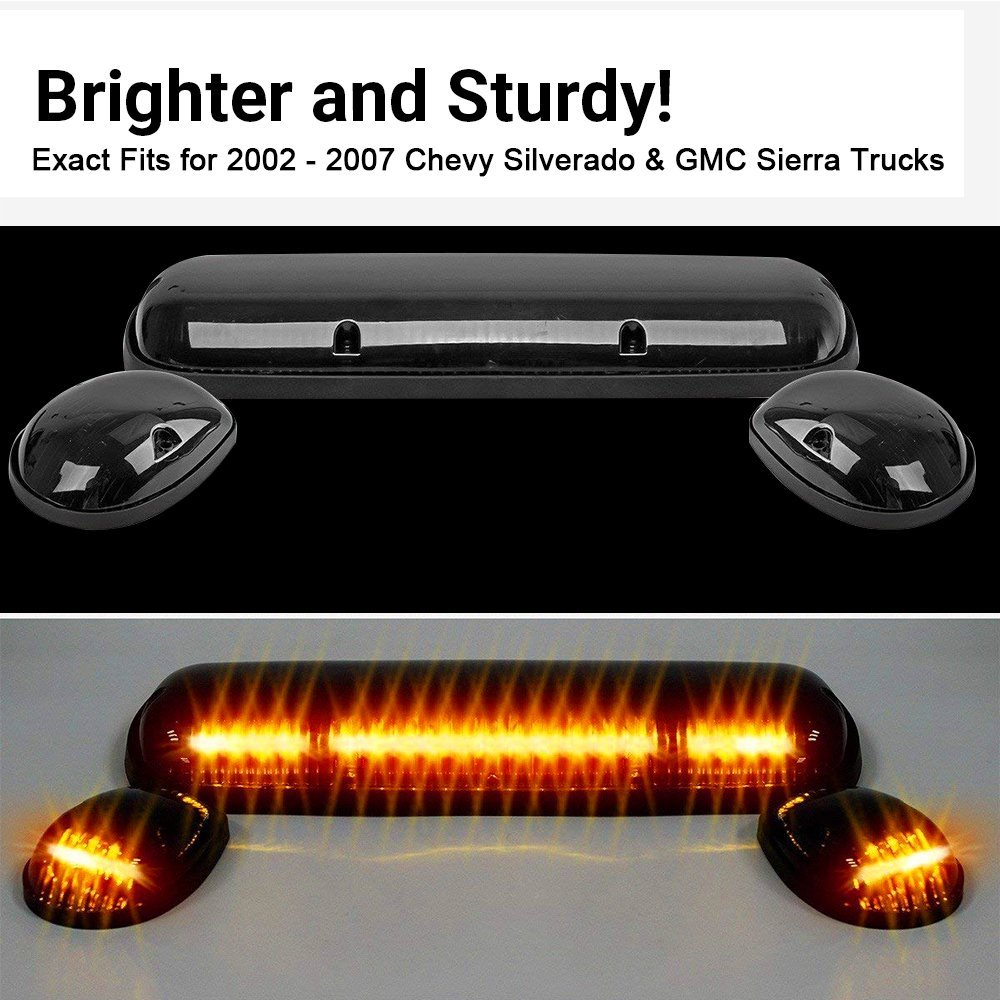 3pcs Smoked Cover Cab Roof Top Marker Lights Amber 30 Led Running 2007 Chevrolet Silverado Wiring Harness Clearance With Pack For 2002 Chevy