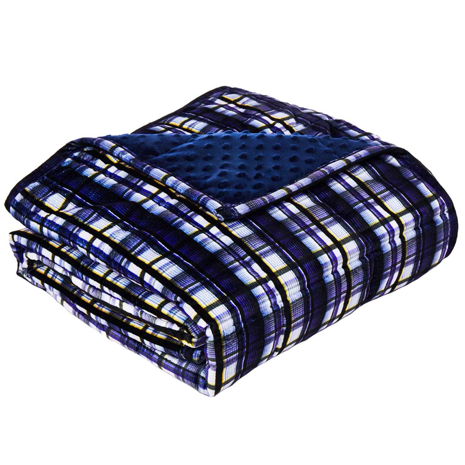 YnM Minky Weighted Blanket   15lbs, 48''x 72'', Twin Size   2.0 Fuzzy Sensory Heavy Blanket   Ultra-Soft Minky Material with Glass Beads, Navy Plaid Print & Navy Dots