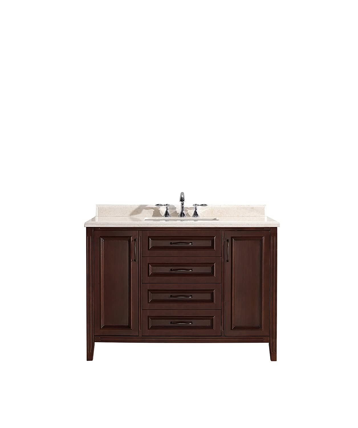 Ove Decors Daniel 48 Cocoa Bathroom Vanity In Cocoa With Beige Marble Vanity Top 48 Inch Wide Amazon In Home Improvement