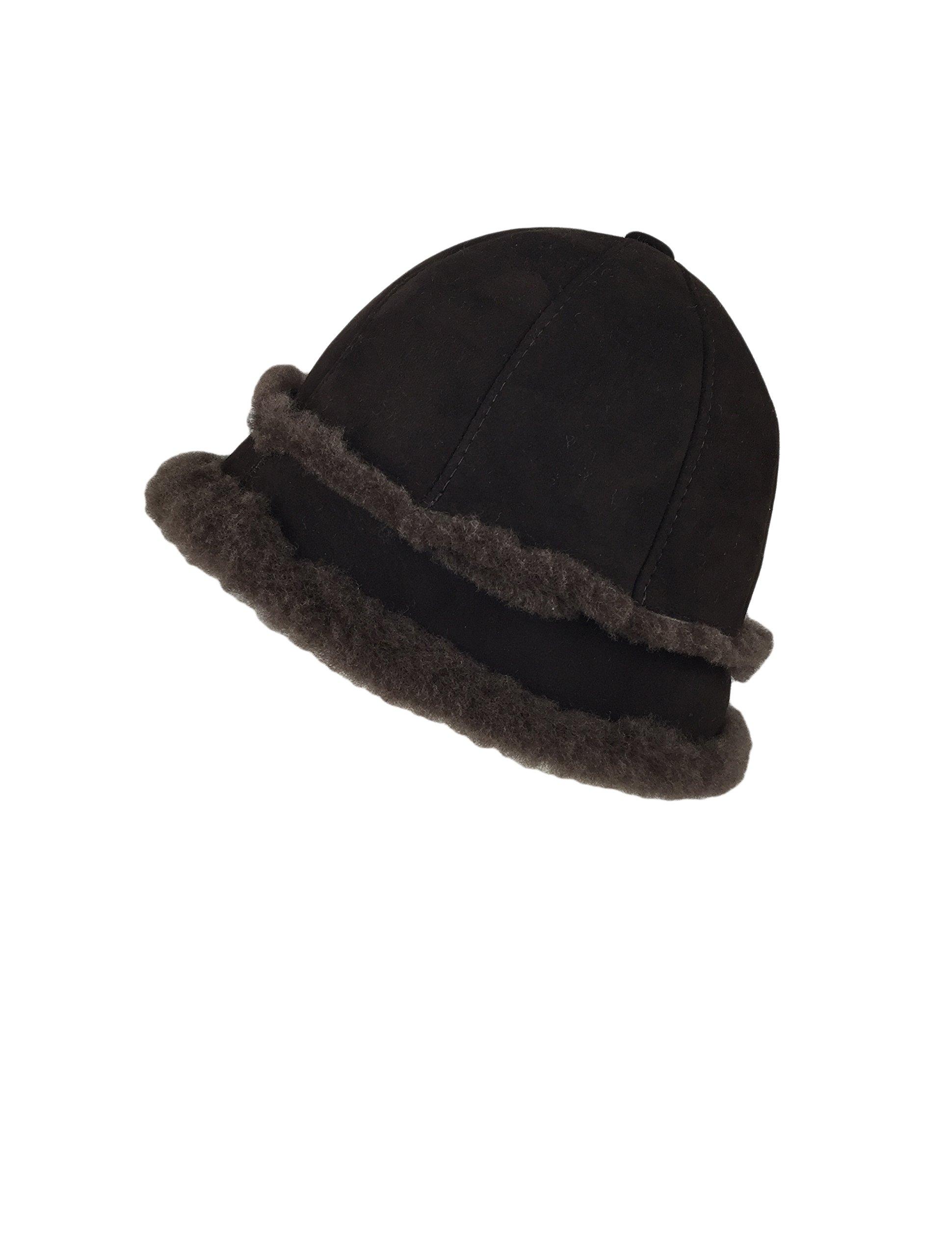 Zavelio Women's Shearling Sheepskin Winter Fur Bucket Beanie Hat Brown Suede M