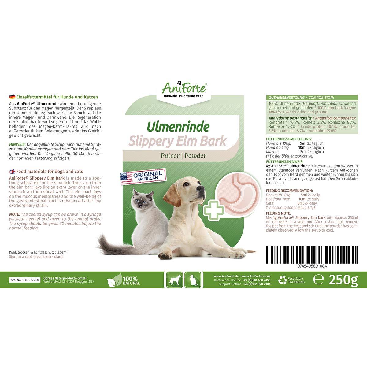 AniForte amerikanische Ulmenrinde Pulver 250g Slippery Elm Bark Pulver -  Naturprodukt für Hunde und Katzen, Wohlbefinden Magen-Darm-Trakt,