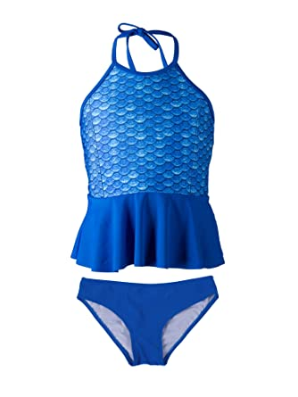 2828c1a7d3f66 Fin Fun Mermaid Girl's Scale Peplum Tankini Swimsuit Set – Mermaidens  Swimwear