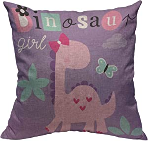 Throw Pillow Cover Cute Dinosaur Girl Cotton Linen Square Pillowcases Baby Animal Cartoon Butterfly Pink Adorable Beautiful Mascot Lovely Fashion Funny Modern Cushion Cover Home Decor 18 X 18 Inch