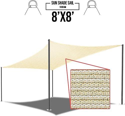 E K Sunrise 8 x 8 Beige Sun Shade Sail Square Canopy – Permeable UV Block Fabric Durable Patio Outdoor Set of 1
