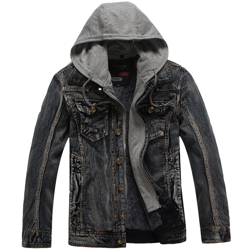 Men's Fake Two Pieces Denim Jacket Slim Fit Casual Wash Blue Retro Hooded Jacket maduang