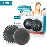 Dr. Frederick's Original Advanced HOT & COLD Massage Ball Set-1 Spiky 1 Smooth. Physician Developed For Feet Pain-Plantar Fasciitis-Back Pain-Myofascial Release–Trigger Therapy & Deep Tissue Massage