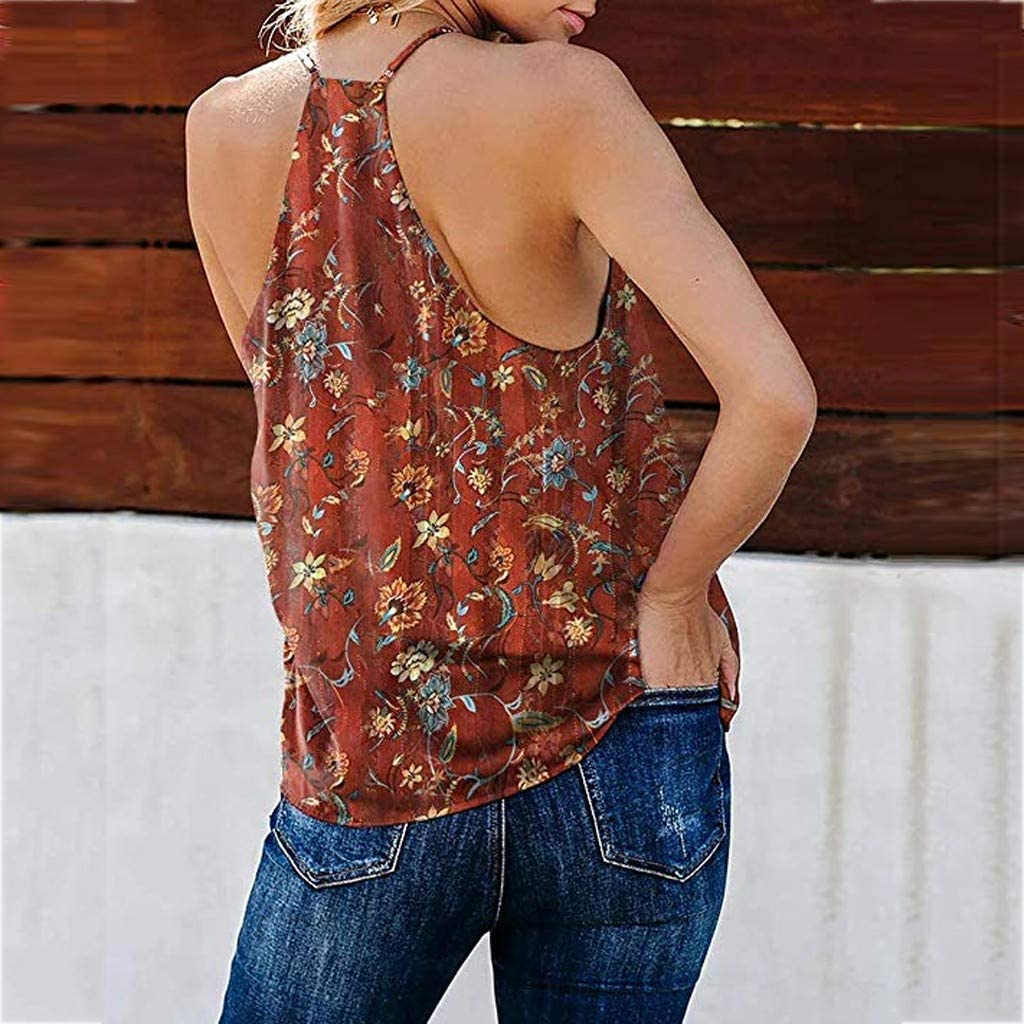 Tank Tops for Womens Summer Sleeveless Boho V Neck Floral//Leopard Print Cami Shirt Tank Tops Blouses T-Shirts Shirts