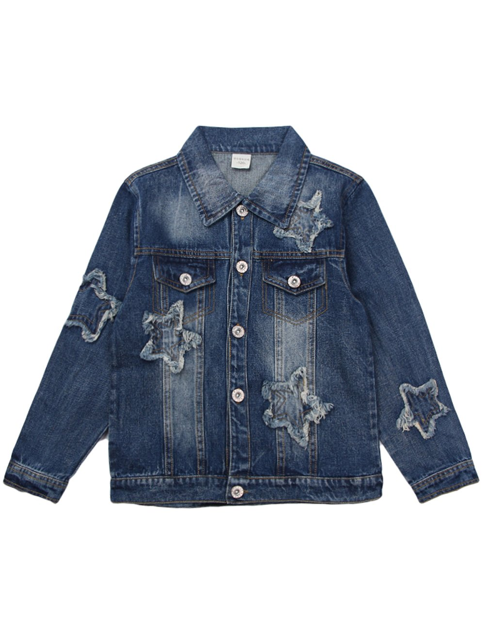Menschwear Girl's Short Denim Jacket Stone Washed Denim(140,Blue£