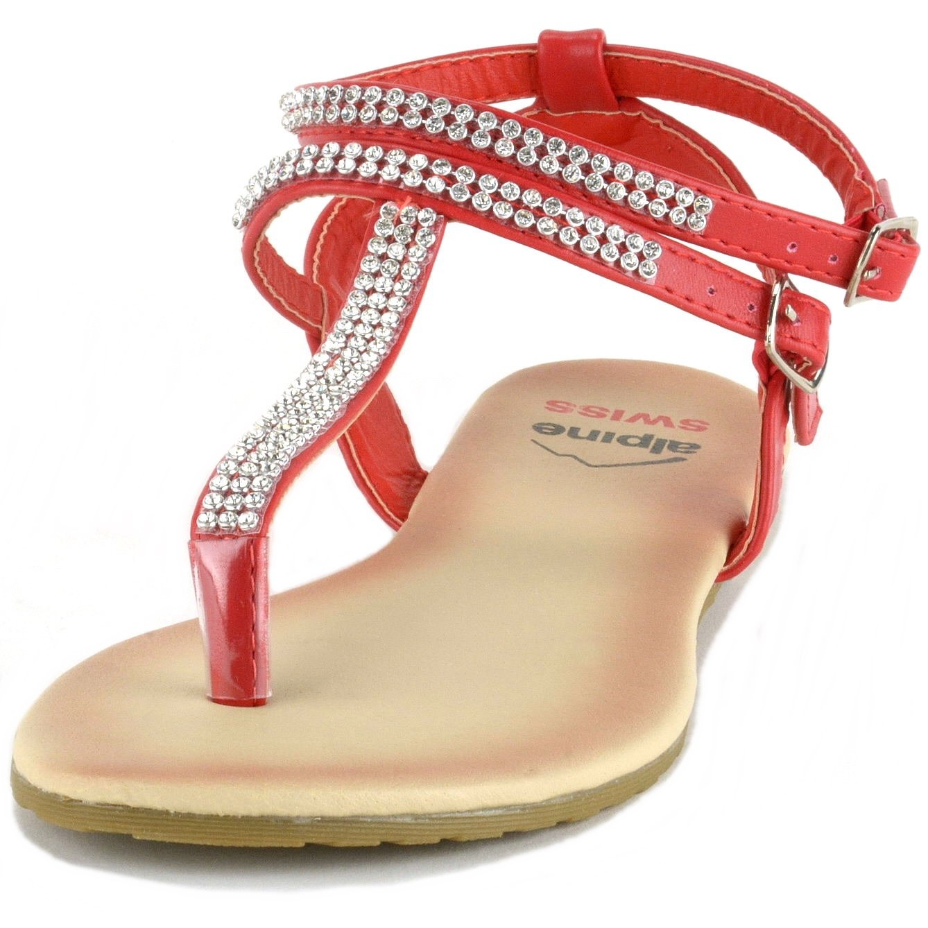 7697c79e78575a alpine swiss Womens Slingback T-Strap Rhinestone Ankle Strap Thong Sandals  By Alpine Swiss larger image