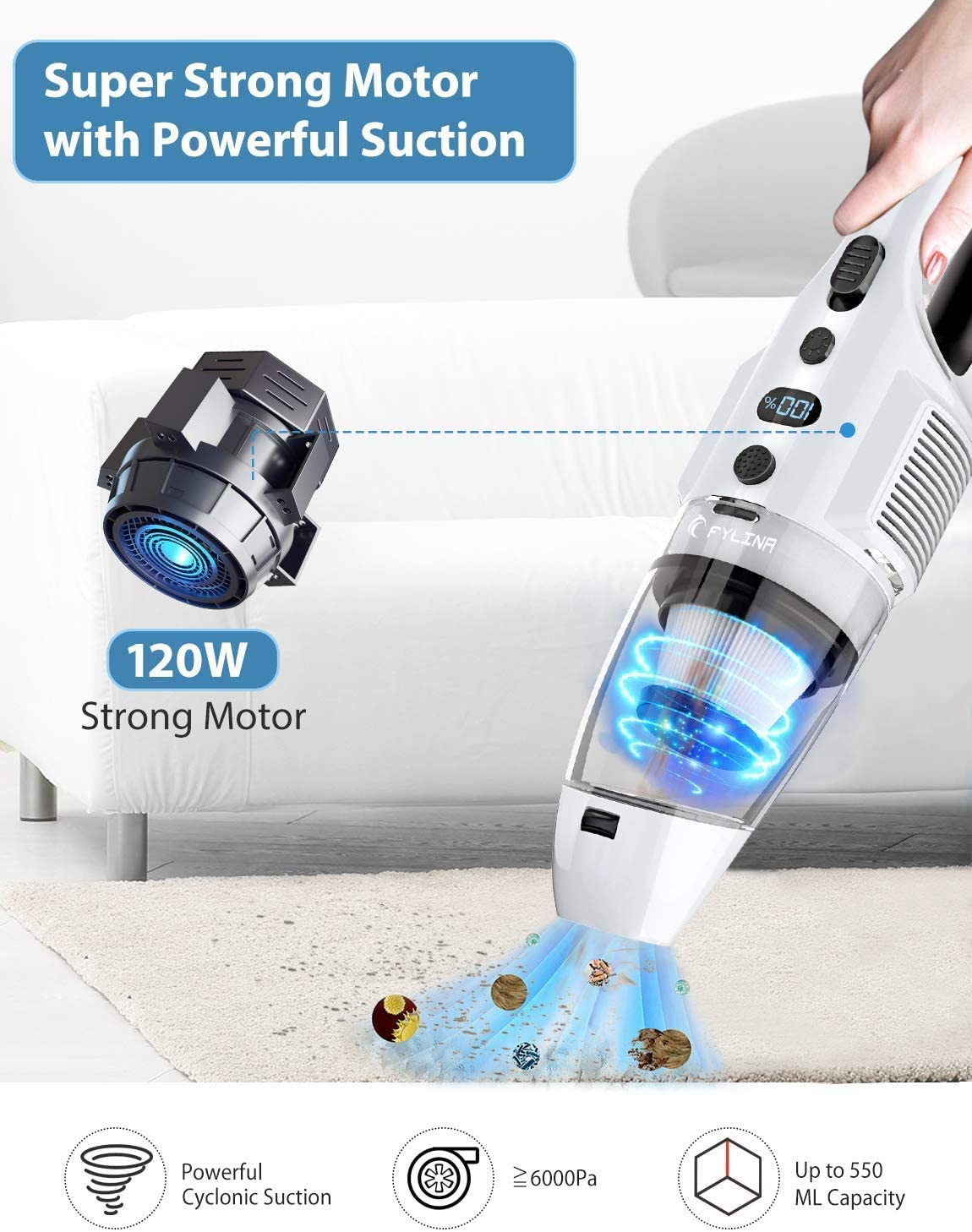 Office and Car Cleaning Cordless Hand Vacuum Powered by Li-ion Rechargeable Battery with 120W Cyclonic Motor Pet Hair 7500PA Suction Handheld Vacuum Cleaner FYLINA Handheld Vacuum for Home