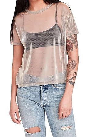 e3ef7e2af9 Farktop Music Festival Women's Sexy Metallic Shimmer Mesh Tee Short Sleeve  See Through Mesh Blouse Tops Tee Shirt