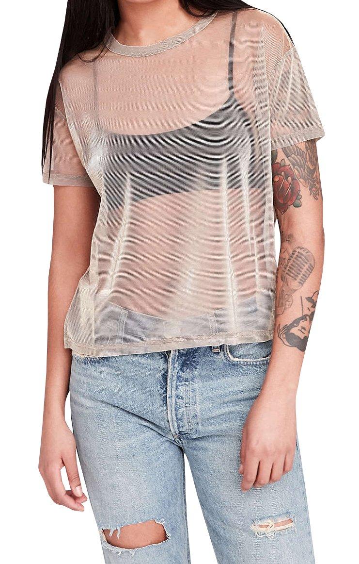bbd810694fc Farktop Music Festival Women's Sexy Metallic Shimmer Mesh Tee Short Sleeve  See Through (Champagne ) Small