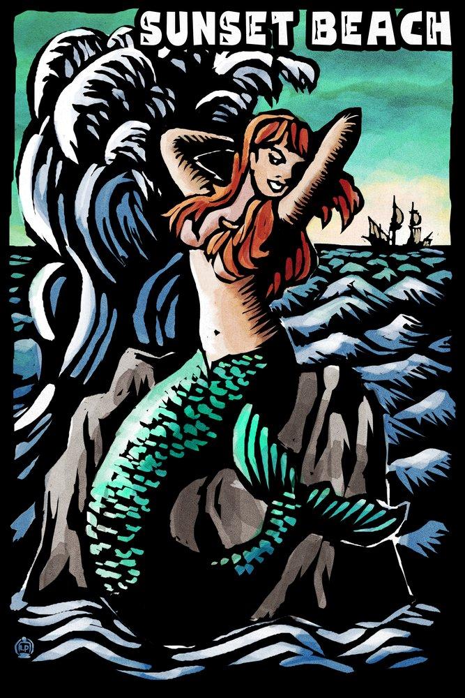 サンセットビーチ、新しいジャージー – マーメイドScratchboard 36 x 54 Giclee Print LANT-52530-36x54 36 x 54 Giclee Print  B017E9XRHW