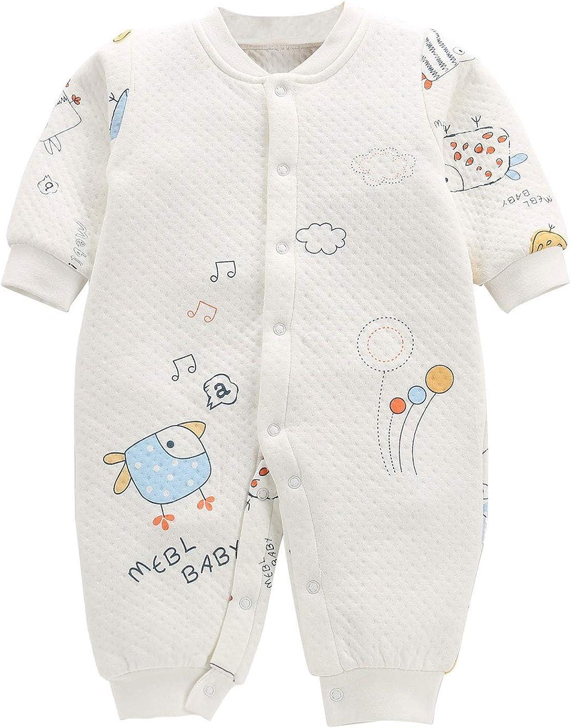 Happy Cherry - Bebés Algodón Saco de Dormir para Invierno de Cómodo con Mangas Largas Bolsa de Dormir Dibujos Animados para Bebé Recién Nacidos de 0-12 Meses
