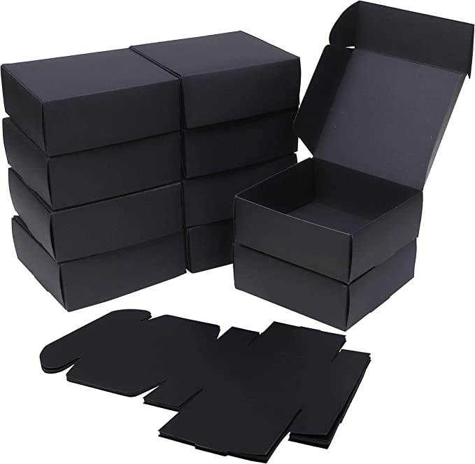 Cajas kraft (Pack de 50) - Cajas Regalo Negras (13x12x5cm) - Kraft Papel Cajas con Tapa - Auto ensamblables Cajas para Fiestas, Bodas, Galletas, Dulces, Joyas, Regalos: Amazon.es: Oficina y papelería