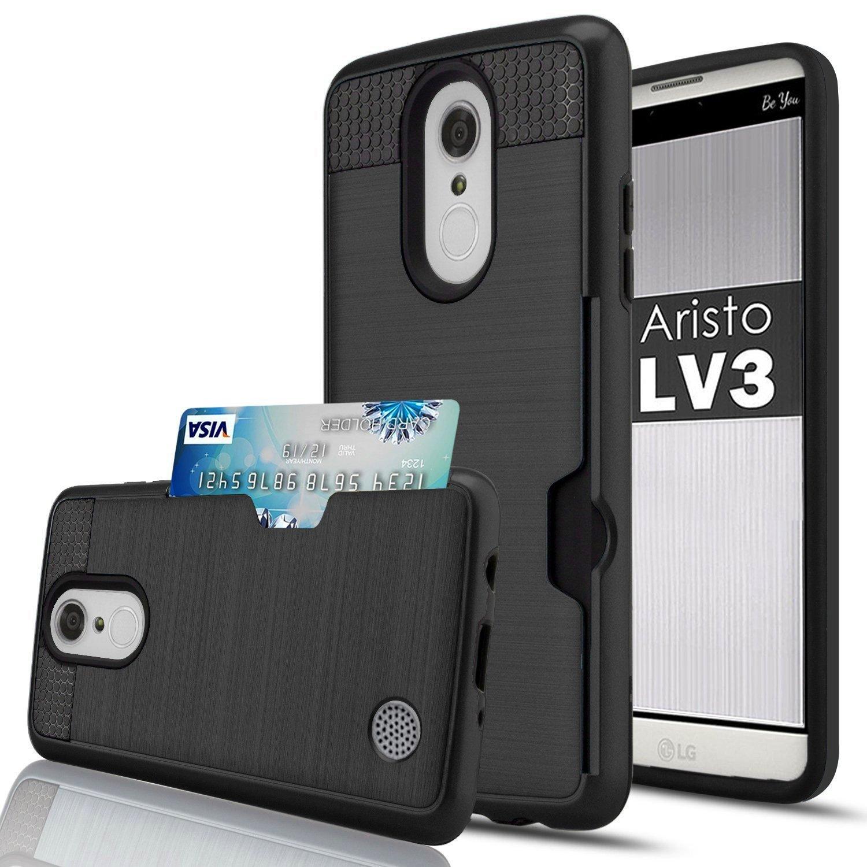 LG K8 (2017) Case, LG Aristo Case, LG Phoenix 3 Case, LG LV3/ Fortune Case,Jwest [Credit Card Slots Holder] Hard Silicone Rubber Hybrid Armor Shockproof Protective Wallet Case For LG MS210 (LV3), K4 (2017), M153 (FORTUNE), M150 (PHOENIX 3), K8 (2017),Rose