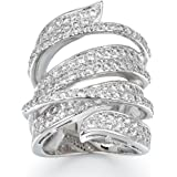 Delicin Jewelry Rhodium Plated Cubic Zirconia Wide Band Cocktail Ring