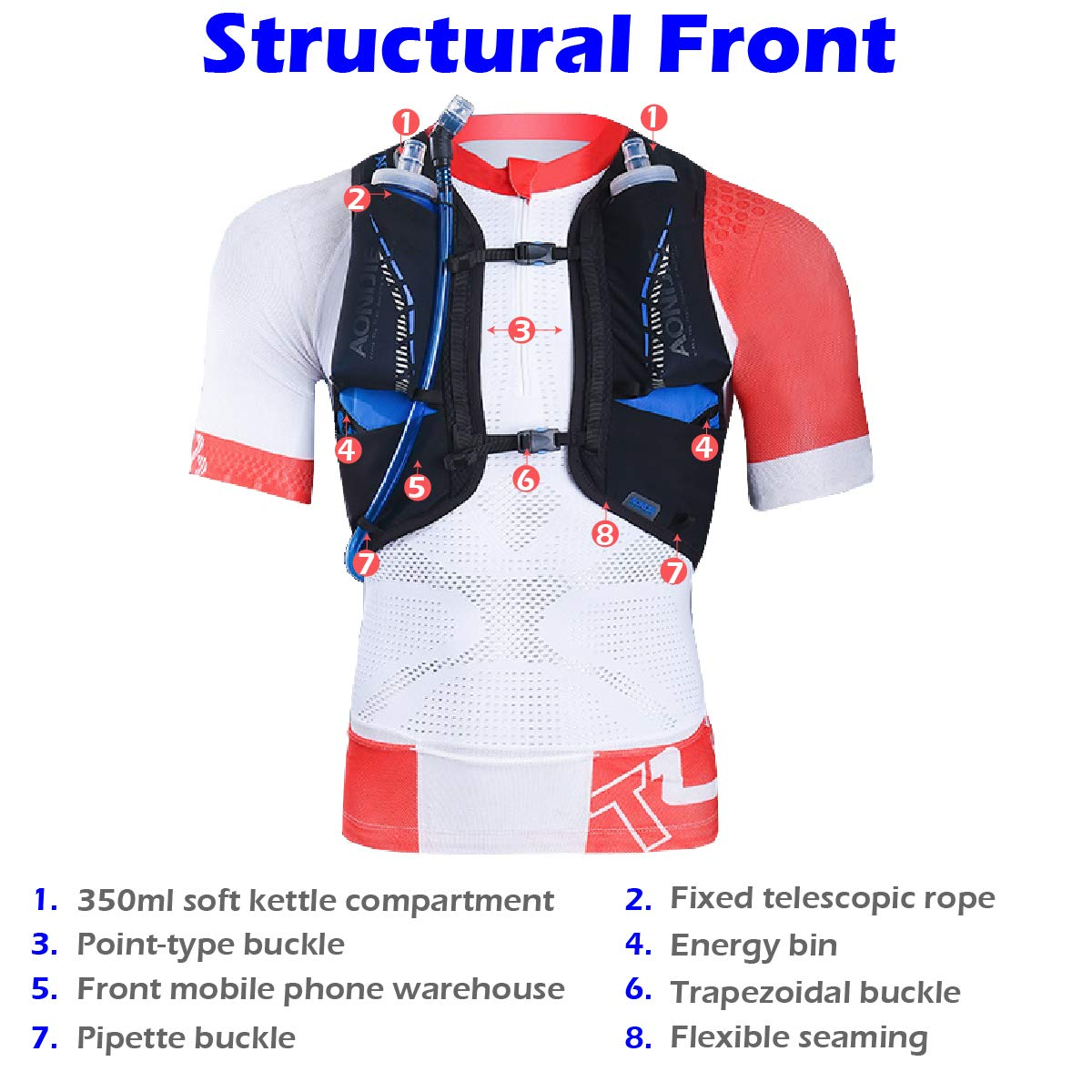 TRIWONDER Hydration Vest 18L Ultra Trail Running Backpack Pack Marathon Vest Outdoor Runner Race Vest