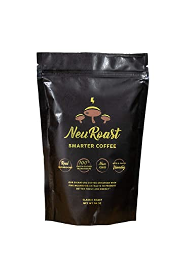 NeuRoast Classic Roast Mushroom Coffee Best Tasting Mushroom Coffee Made With Lion s Mane, Cordyceps, Chaga, Reishi, and Turkey Tail – 100 Real Mushroom Extracts, No Mycelium Or Fillers. 10 oz