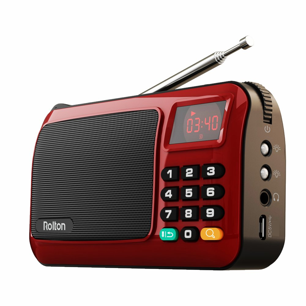 Rolton W405 Portable Mini FM Radio Speaker Music Player TF Card USB For PC iPod Phone with LED Display (Red)