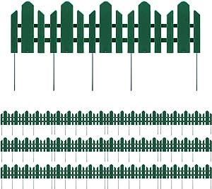 Sunnyglade 12 Pack Garden Edging Decorative Border Recycled Plastic Landscape Garden Fence Flexible No-Dig Spikes,Dark Green