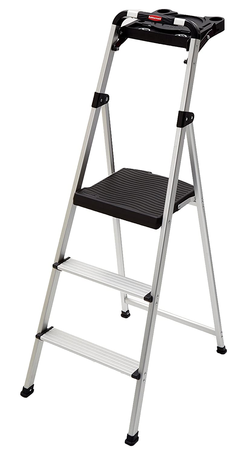 Rubbermaid RM-SLA3-T 3-Step Ultra Light Aluminum Step Stool with Project Tray, 225-Pound Capacity, Grey Finish Tricam