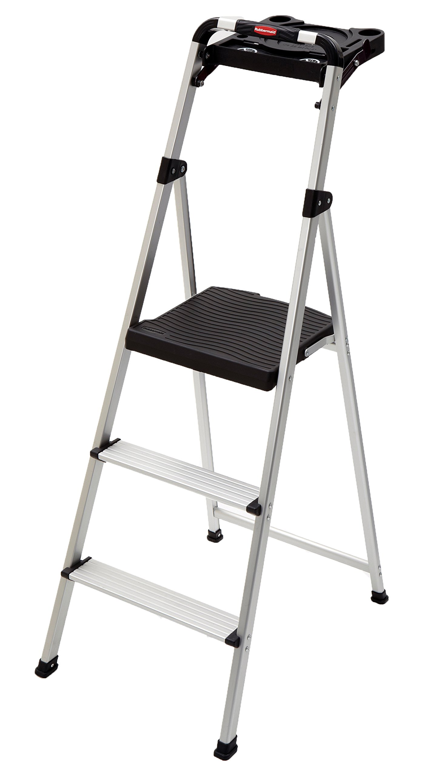 Rubbermaid RM-SLA3-T 3-Step Ultra Light Aluminum Step Stool with Project Tray, 225-Pound Capacity, Grey Finish