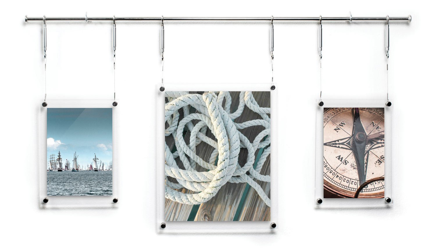 HIGHWIRE Picture Frame Display, Set of Three Hanging / Wall Mounted Photos (5x7'', 8x10'', 5x7''), Acrylic, Steel & Aluminum by HIGHWIRE