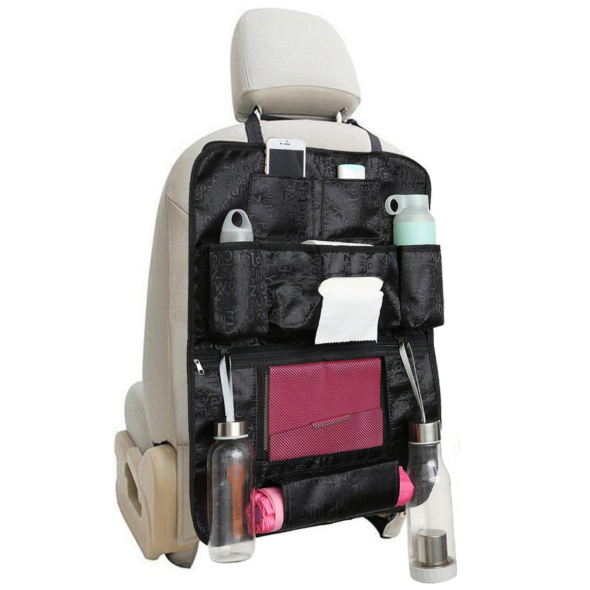 MATCC Protezione Sedile Auto Organizer Sedile Posteriore Auto Proteggi Bambini da Viaggio Multi-tasca Oxford Nero Impermeabile Universal