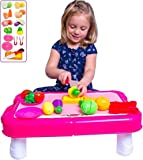 "Pretend Play Vegetables Play Table - Cuttable Play Fruits and Veggies - Plates and more | 23"" Table can fold into a Storage Suitcase! Makes a Great Gift for Young Girls"