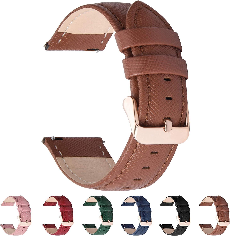 Fullmosa 6 Colores para Correa de Reloj, Cross Piel Correa Huawei Samsung Correa/Banda/Band/Pulsera/Strap de Recambio/Reemplazo 18mm 20mm 22mm 24mm,Marron 18mm